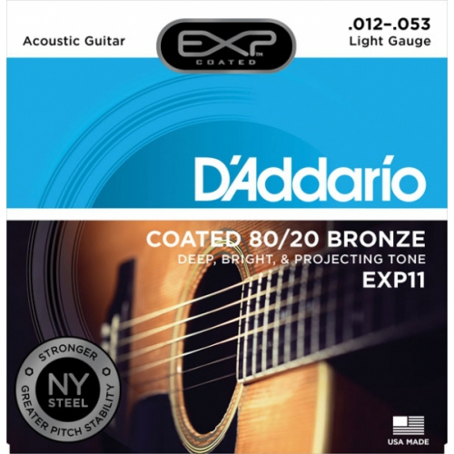Encordoamento para Violao D'Addario EXP11 Coated Light 0.012