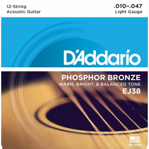 Encordoamento para Violao D'Addario EJ38 12-String Phosphor Bronze Light 0.010
