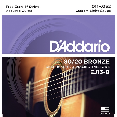 Encordoamento para Violao D'Addario EJ13-B Custom Light 0.011