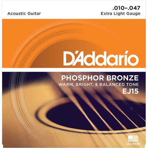 Encordoamento para Violao D'Addario EJ15 Phosphor Bronze Extra Light 0.010