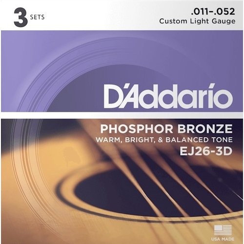 Encordoamento para Violao D'Addario EJ26-3D Pague 2 Leve 3 Custom Light 0.011