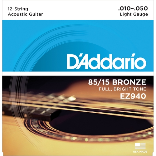 Encordoamento Para Violao D'Addario EZ940 12-String Light 0.010