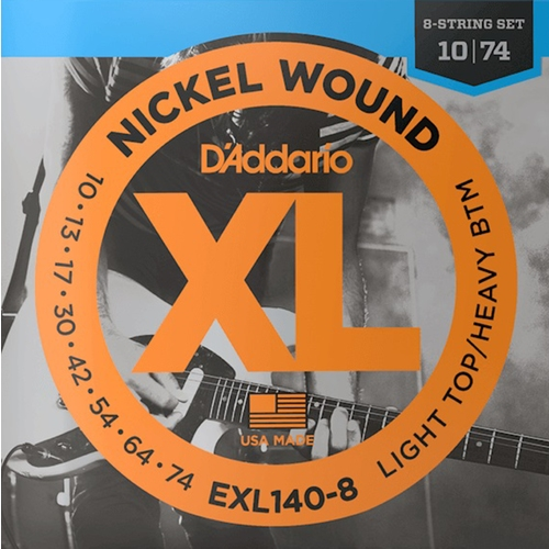 Encordoamento para Guitarra D'Addario EXL140-8 Light Top/Heavy BTM 0.010