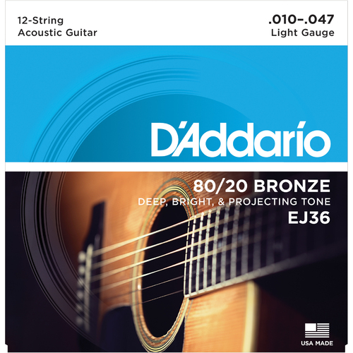 Encordoamento para Violao D'Addario EJ36 12-String Light 0.010